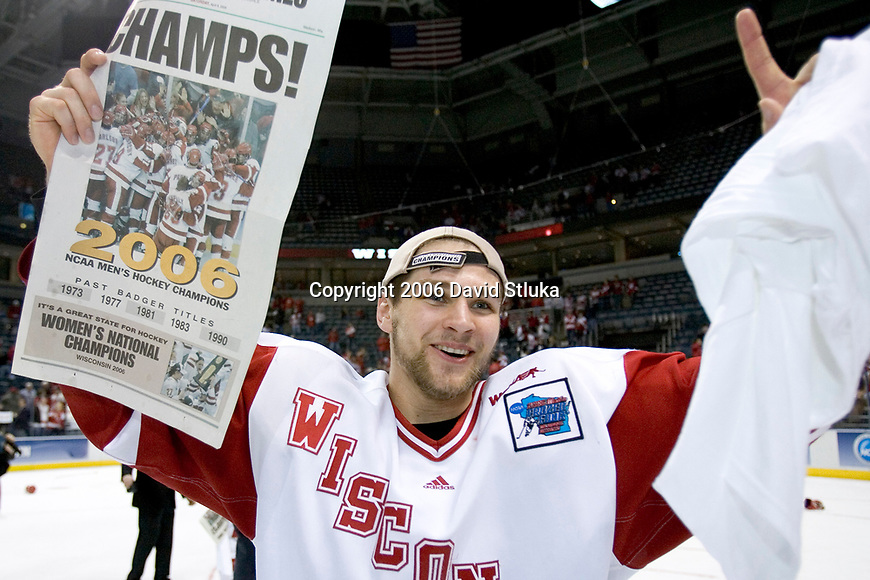 MILWAUKEE, WI - APRIL 8: Matt Olinger #3 of the Wisconsin Badgers celebrates the Badgers victory against the Boston College Eagles during the NCAA Frozen Four Finals on April 8, 2006 at the Bradley Center in Milwaukee, Wisconsin. Wisconsin beat Boston College 2-1. (Photo by David Stluka) (Photo by David Stluka)