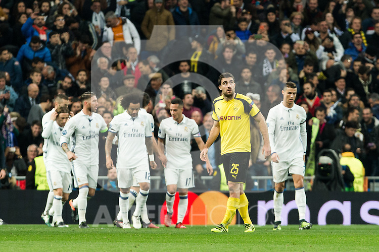 Borussia Dortmund Sokratis Papastathoppulos Real Madrid's Marcelo Vieira, Karim Benzema, James Rodriguez, Sergio Ramos, Lucas Vazquez  during Champions League match between Real Madrid and Borussia Dortmund  at Santiago Bernabeu Stadium in Madrid , Spain. December 07, 2016. (ALTERPHOTOS/Rodrigo Jimenez)
