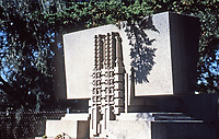 Frank Lloyd Wright:  'Hollyhock House', built in Hollywood, 1917.  Detail: Massive concrete canted with hollyhock motif.