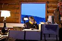 Communication volunteer Leslie Washburn at work at the village checkpoint of Ruby during the 2010 Iditarod