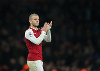 Jack Wilshere of Arsenal applauds the fans during the Premier League match between Arsenal and Newcastle United at the Emirates Stadium, London, England on 16 December 2017. Photo by Vince  Mignott / PRiME Media Images.