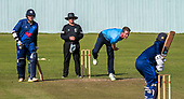 Cricket Scotland - the Citylets Scottish Cup Final between Carlton CC V Heriots CC at Meikleriggs, Paisley (Ferguslie CC) - Carlton's Aly Evans fires the ball in an aggresive style early in the Heriots innings - picture by Donald MacLeod - 25.08.19 - 07702 319 738 - clanmacleod@btinternet.com - www.donald-macleod.com