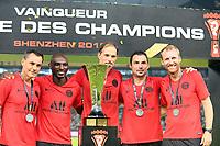 JOIE - TROPHEE - THOMAS TUCHEL (ENTRAINEUR PSG) - ZOUMANA CAMARA (ENTRAINEUR ADJOINT PSG)<br /> Shenzen <br /> 03/08/2019 Football Supercoppa di Francia 2019/2020 <br /> PSG Paris Saint Germain - Rennes <br /> Foto Philippe LECOEUR / Panoramic/insidefoto <br /> ITALY ONLY