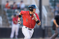 Alex Call (2) of the Kannapolis Intimidators hustles down the first base line against the West Virginia Power at Kannapolis Intimidators Stadium on August 20, 2016 in Kannapolis, North Carolina.  The Intimidators defeated the Power 4-0.  (Brian Westerholt/Four Seam Images)