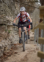 NWA Democrat-Gazette/BEN GOFF @NWABENGOFF<br /> Riders compete on Sunday Dec. 11, 2016 during the Back 40 Trail Run & Ride on the Back 40 trails in Bella Vista. The event put on by the city of Bella Vista and Rush Running Company featued 10K, 20 mile and 40 mile trail runs on Saturday followed by races of the same distances on mountain bikes on Sunday.