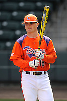 Center fielder Tyler Slaton (18) of the Clemson Tigers prior to the Reedy River Rivalry game against the South Carolina Gamecocks on March 1, 2014, at Fluor Field at the West End in Greenville, South Carolina. South Carolina won, 10-2.  (Tom Priddy/Four Seam Images)