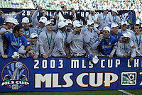 The San Jose Earthquakes celebrating winning MLS Cup 2003 after defeating the Chicago Fire 4-2 in the MLS Championship at The Home Depot Center on November 23, 2003.