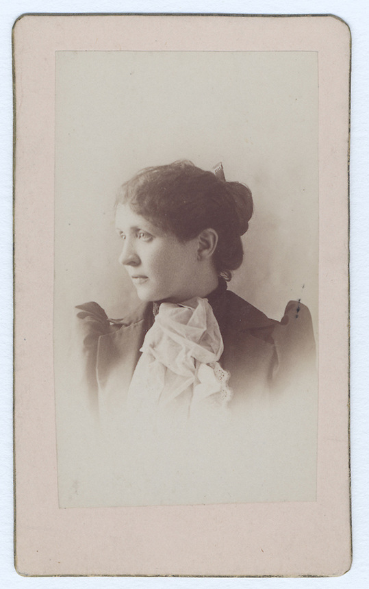6a.<br /> <br /> 3 3/8  x  1 15/16  [sepia]<br /> 4 1/8  x  2 5/16  [card stock]<br /> <br /> Sarah H. Crone<br /> (April 1, 1893)<br /> <br /> mounted on heavy card stock