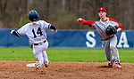 WASHINGTON,  CT-041819JS07-Northwestern's Mike Bobinski (4) throws to first to complete a double play after getting Shepaug's Mike McClusky (14) out at a force play at second base during their game Thursday at Tex Alex Field in Washington.  <br /> Jim Shannon Republican American