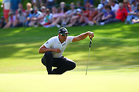 Henrik Stenson eyes up his shot on the 17th green during the BMW PGA Golf Championship at Wentworth Golf Course, Wentworth Drive, Virginia Water, England on 27 May 2017. Photo by Steve McCarthy/PRiME Media Images.