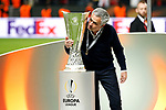 Manchester United manager Jose Mourinho kisses the trophy after the UEFA Europa League Final match at the Friends Arena, Stockholm. Picture date: May 24th, 2017.Picture credit should read: Matt McNulty/Sportimage
