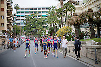 Team Lampre-Merida returning through the streets of San Remo from the Giro 2015 Official Team Presentation
