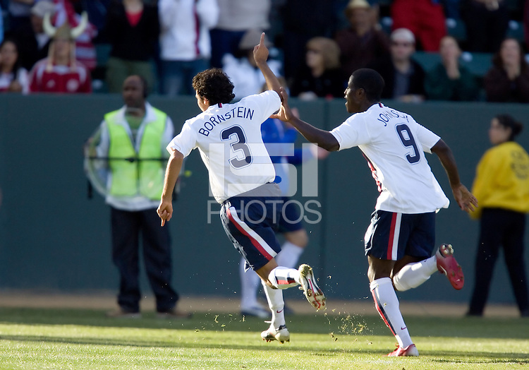Jonathan Bornstein celebrates his goal with Eddie Johnson running behind him. The USA defeated Denmark 3-1 in an International friendly at the Home Depot Center in Carson, CA on January 20, 2007.