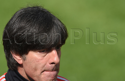 28.05.2014. St. Martin, Passeier, Italy. Head coach Joachim Loew of the German national soccer team attends a training session on a training ground at St. Leonhard in Passeier, Italy