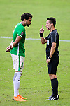 FIFA Referee Liu Kwok Man (R) talks to Eduardo Praes of Wofoo Tai Po (L) during the Hong Kong FA Cup final between Kitchee and Wofoo Tai Po at the Hong Kong Stadium on May 26, 2018 in Hong Kong, Hong Kong. Photo by Marcio Rodrigo Machado / Power Sport Images