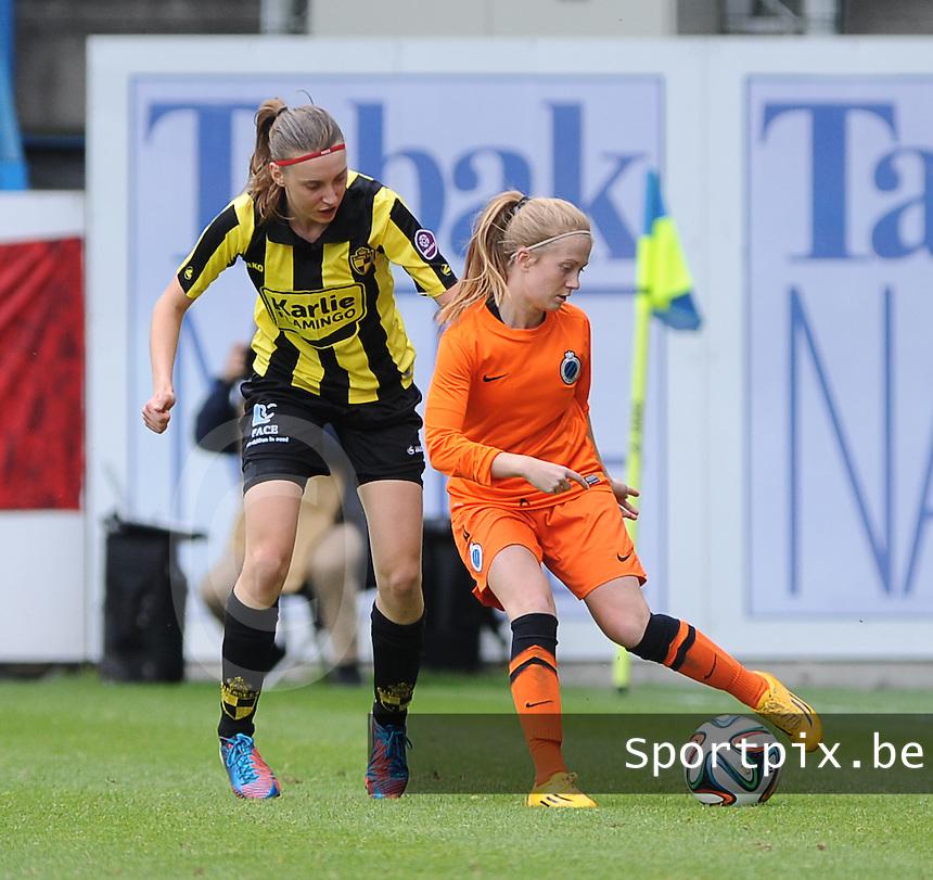 Bekerfinale vrouwen 2015 : Lierse-Club Brugge Vrouwen <br /> <br /> Silke Demeyere (R) kapt Hannelore Van Poppel (L) uit<br /> <br /> foto VDB / BART VANDENBROUCKE