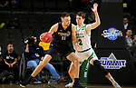 SIOUX FALLS, SD - MARCH 8: Dylan Carl #11 of the PFW Mastodons looks to back down Filip Rebraca #12 of the North Dakota Fighting Hawks at the 2020 Summit League Basketball Championship in Sioux Falls, SD. (Photo by Dave Eggen/Inertia)
