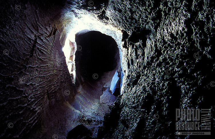Interior shot of a lava tube at Mauna Loa volcano.