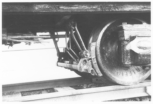 Detail photo of the tender brake hanger of D&amp;RGW #278 displayed at Montrose.<br /> D&amp;RGW  Montrose, CO  Taken by Morris, Kelly