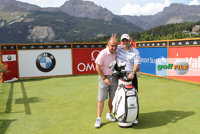 Paul McGinley (IRL) with his caddy Simon Hurd on the 7th tee on the Pro Am Day of the Omega European Masters 2012, Golf Club Crans-Sur-Sierre, Crans Montana, Switzerland, 29/8/12...(Photo Jenny Matthews/www.golffile.ie)