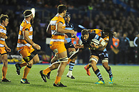 Josh Turnbull of Cardiff Blues is tackled by Sibhale Maxwane of Toyota Cheetahs during the Guinness Pro14 Round 5 match between Cardiff Blues and Toyota Cheetahs at the Cardiff Arms Park Stadium in Cardiff, Wales, UK. Friday 28 September 2018