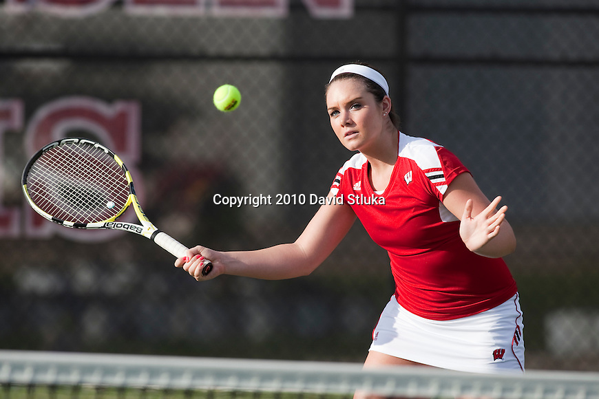 2010-11 Wisconsin Badgers Kathleen Saltarelli of the women's tennis team at the Nielsen Tennis Stadium in Madison, Wisconsin on September 1, 2010. (Photo by David Stluka)