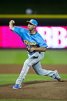 Myrtle Beach Pelicans relief pitcher Daury Torrez (38) in action against the Winston-Salem Dash at BB&T Ballpark on April 18, 2016 in Winston-Salem, North Carolina.  The Pelicans defeated the Dash 6-4.  (Brian Westerholt/Four Seam Images)