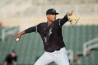 Kannapolis Intimidators starting pitcher Blake Hickman (33) in action against the Greensboro Grasshoppers at Kannapolis Intimidators Stadium on August 13, 2017 in Kannapolis, North Carolina.  The Grasshoppers defeated the Intimidators 3-0.  (Brian Westerholt/Four Seam Images)