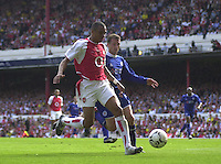 Premiership Football - Arsenal v Leicester City:.2003/04 Season - 15/05/2004  [Record breaking Season undefeated].Gilberto and Billy MaKinly contest for the ball. .[Credit] Peter Spurrier Intersport Images