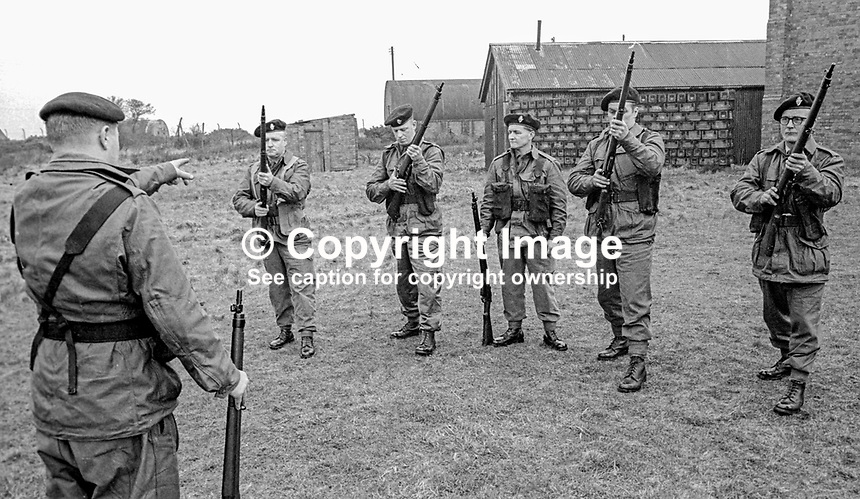 Members of the UDR, Ulster Defence Regiment, undergoing weapons training and shooting practice at Kinnegar Army Camp, Holywood, Co Down, N Ireland, March 1970. 197003000120c<br /> <br /> Copyright Image from Victor Patterson, 54 Dorchester Park, Belfast, UK, BT9 6RJ<br /> <br /> t1: +44 28 9066 1296<br /> t2: +44 28 9002 2446<br /> m: +44 7802 353836<br /> <br /> e1: victorpatterson@me.com<br /> e2: victorpatterson@gmail.com<br /> <br /> IMPORTANT: My Terms and Conditions of Business are at www.victorpatterson.com