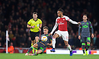 Mariz Luís of Sporting under pressure from Pierre-Emerick Aubameyang of Arsenal during the UEFA Europa League group match between Arsenal and Sporting Clube de Portugal at the Emirates Stadium, London, England on 8 November 2018. Photo by Andrew Aleks / PRiME Media Images.<br /> .<br /> (Photograph May Only Be Used For Newspaper And/Or Magazine Editorial Purposes. www.football-dataco.com)