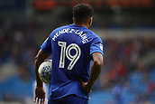 30th September 2017, Cardiff City Stadium, Cardiff, Wales; EFL Championship football, Cardiff City versus Derby County; Nathaniel Mendez-Laing of Cardiff City holds the ball as he waits for play to resume