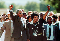 Nelson Mandela with his wife Winnie after his release from Victor Vester prison following 27 years in gaol.
