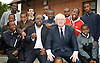 Mayor Boris scheme gets 1,700 volunteers to support young black boys<br /> <br /> Boris Johnson <br /> Mayor of London <br /> <br /> with Mayor's Mentoring Ambassador Ray Lewis, who runs the East Side Academy<br /> <br /> Leytonestone, London, Great Britain <br /> 20th July 2011 <br /> <br /> <br /> Photograph by Elliott Franks