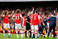 RED CARD - Ainsley Maitland-Niles of Arsenal is shown the red by referee, Jonathan Moss during the Premier League match between Arsenal and Aston Villa at the Emirates Stadium, London, England on 22 September 2019. Photo by Carlton Myrie / PRiME Media Images.