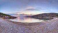 Sunset at the beach Kato Fana in Chios island, Greece
