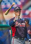 11 March 2013: Atlanta Braves outfielder Jordan Schafer tosses his bat outside the batting cage prior to a Spring Training game against the Washington Nationals at Space Coast Stadium in Viera, Florida. The Braves defeated the Nationals 7-2 in Grapefruit League play. Mandatory Credit: Ed Wolfstein Photo *** RAW (NEF) Image File Available ***