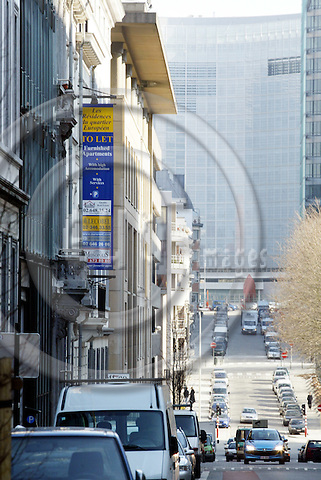 BRUSSELS - BELGIUM - 20 FEBRUARY 2004 --The European quarter in Brussels, the Schuman area. --The property market is booming, there are many appaarments and offices to let. -- PHOTO: JUHA ROININEN / EUP-IMAGES