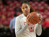 COLLEGE PARK, MD - DECEMBER 28: Shakira Austin #1 of Maryland warms up before the game. during a game between University of Michigan and University of Maryland at Xfinity Center on December 28, 2019 in College Park, Maryland.