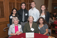From left, standing, Marixa Rodriguez '14, Adam Rose '16, Malcolm Clayton '14 and Olivia Smith '16. From left, seated, Enid Busser '58, Jane Pinkerton P'85 P'88 and Martha Hidalgo '81 P'12. Occidental College hosts the Scholarship Appreciation Reception, February 13, 2014 in Dumke Commons of Swan Hall.  (Photo by Marc Campos, Occidental College Photographer)