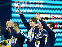 Camille Lacourt, Jeremy Stravius, Fabien Gillot, Giacomo Perez Dortona Team FRANCE gold medal<br /> Men's 400m individual medley final<br /> Swimming<br /> 15th FINA World Aquatics Championships<br /> Palau Sant Jordi, Barcelona (Spain) 04/08/2013 <br /> &copy; Giorgio Perottino / Deepbluemedia.eu / Insidefoto