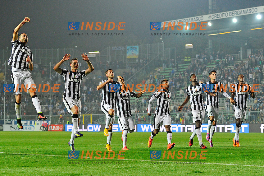 Esultanza giocatori Juventus a fine gara<br /> Bergamo 27-09-2014 Stadio Atleti Azzurri d'Italia - Football Calcio Serie A Atalanta - Juventus. Foto Giuseppe Celeste / Insidefoto