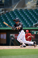 Jupiter Hammerheads second baseman Luis Pintor (3) grounds into a double play during a game against the Palm Beach Cardinals on August 5, 2018 at Roger Dean Chevrolet Stadium in Jupiter, Florida.  Jupiter defeated Palm Beach 3-0.  (Mike Janes/Four Seam Images)