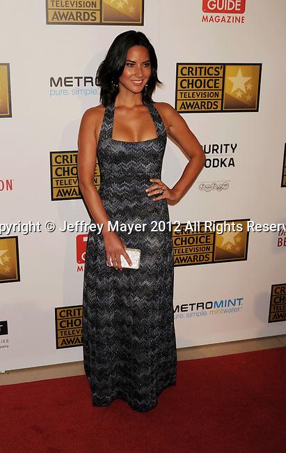 BEVERLY HILLS, CA - JUNE 18: Olivia Munn. arrives at The Critics' Choice Television Awards at The Beverly Hilton Hotel on June 18, 2012 in Beverly Hills, California.