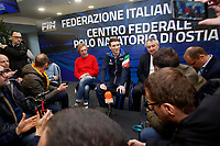 Manuel Bortuzzo with his parents, Franco and Rossella and the president of FIN Paolo Barelli speak to press<br /> Rome March 13th 2019. Manuel Bortuzzo, promising swimmer who was shot in front of a nightclub, returns to his swimming pool at Ostia Federal Swimming Centre. The 19 years old guy was shot by mistake in front of a nightclub last February 2nd and is paralysed from the waist down since then. <br /> Foto Samantha Zucchi Deepbluemedia/ Insidefoto