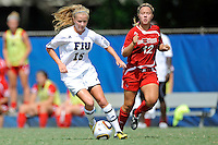 26 September 2010:  FIU's Nicole DiPerna (16) moves the ball upfield in the second half as the FIU Golden Panthers defeated the Arkansas State Red Wolves, 1-0 in double overtime, at University Park Stadium in Miami, Florida.