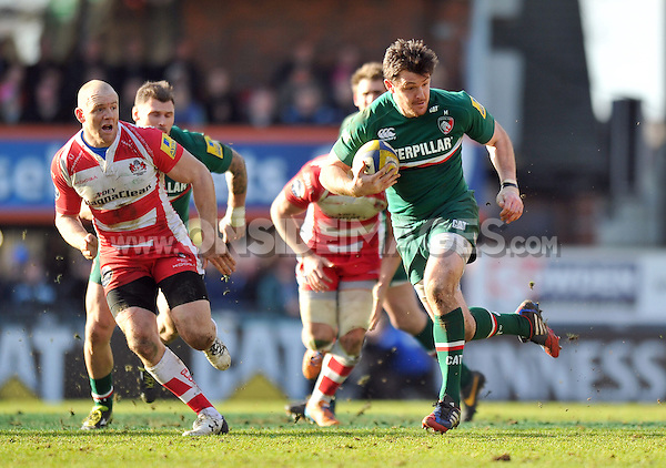 Matt Smith goes on the attack. Aviva Premiership match, between Leicester Tigers and Gloucester Rugby on February 16, 2014 at Welford Road in Leicester, England. Photo by: Patrick Khachfe / JMP