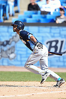 Myrtle Beach Pelicans outfielder Nick Williams (1) during a game against the Wilmington Blue Rocks on April 27, 2014 at Frawley Stadium in Wilmington, Delaware.  Myrtle Beach defeated Wilmington 5-2.  (Mike Janes/Four Seam Images)