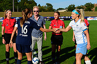 PISCATAWAY, NJ - SEPTEMBER 15: Sarah Killion #16 of Sky Blue FC and Julie Ertz #8 of the Chicago Red Stars shake hands during the coin toss during a game between Chicago Red Stars and Sky Blue FC at Yurcak Field Rutgers University on September 15, 2019 in Piscataway, New Jersey.