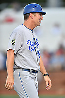 Burlington Royals manager Chris Widger (16) during game one of the Appalachian League Championship Series against the Johnson City Cardinals at TVA Credit Union Ballpark on September 2, 2019 in Johnson City, Tennessee. The Royals defeated the Cardinals 9-2 to take the series lead 1-0. (Tony Farlow/Four Seam Images)